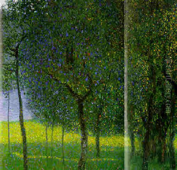 Obstbaume Am Attersee (fruit Trees By Lake Attersee) Oil Painting - Gustav Klimt
