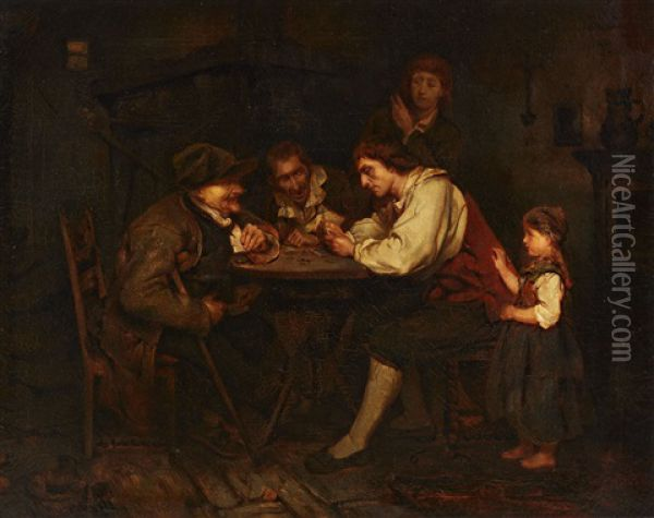 The Gambler Oil Painting - Ludwig Knaus