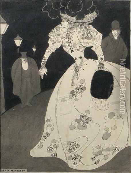 A Woman In White Oil Painting - Aubrey Vincent Beardsley