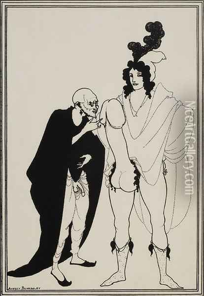 The Examination Of The Herald Oil Painting - Aubrey Vincent Beardsley
