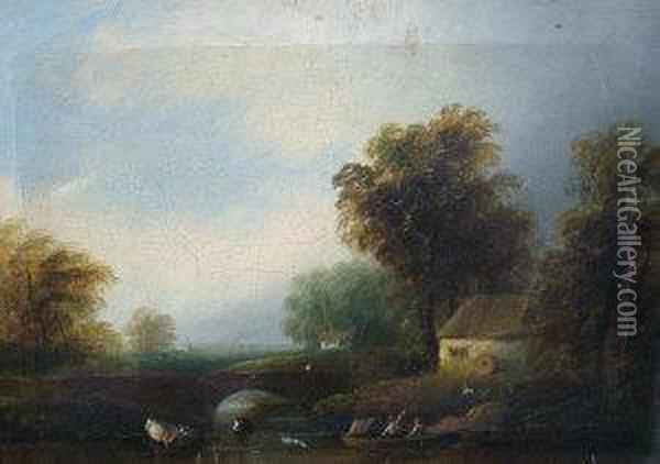 Mid 19th Century- Figures In A Boat On A River By A Bridge With A Cottage And Woodland Oil Painting - A. Beattie