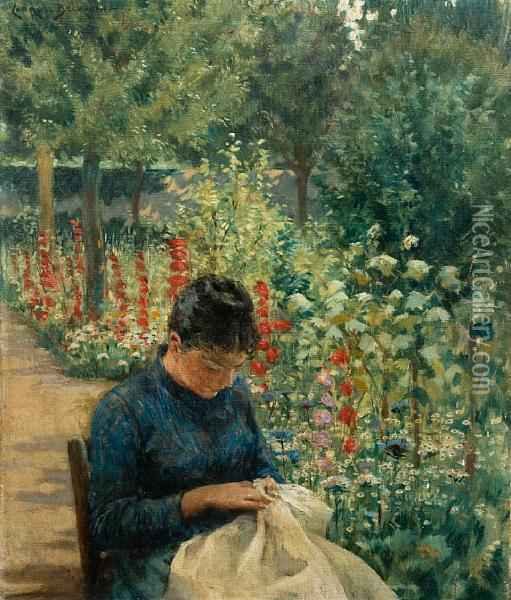 The Garden Of Giverny Oil Painting - James Carroll Beckwith