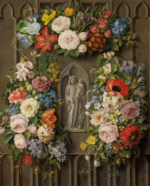 Madonna With Child Wreathed In Flowers Oil Painting - Pauline Von Koudelka-Schmerling