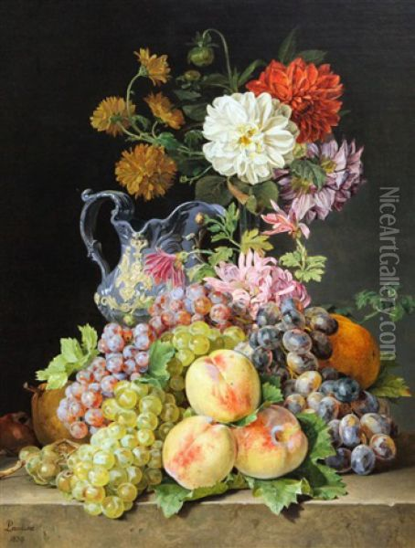 Still Lifes Of Fruit And Flowers On Stone Ledges (pair) Oil Painting - Pauline Von Koudelka-Schmerling