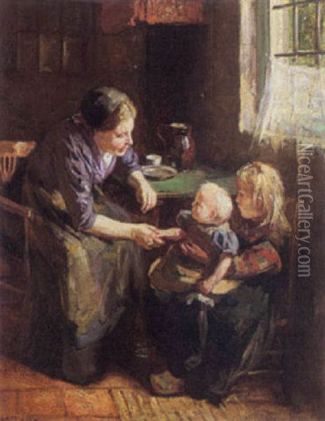 Interior With Mother And Child Oil Painting - Hendrik Maarten Krabbe