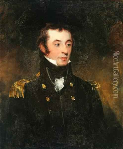 Portrait Of A British Naval Office Oil Painting - Sir William Beechey