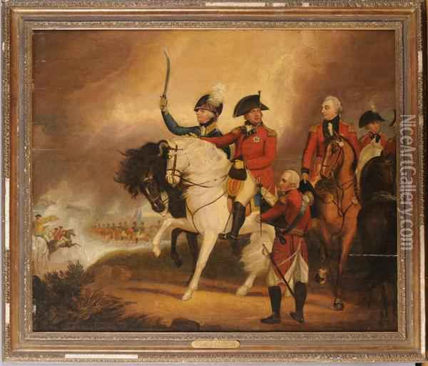 George Iii Reviewing The 3rd Or Prince Of Wales's Dragoon Guards Oil Painting - Sir William Beechey