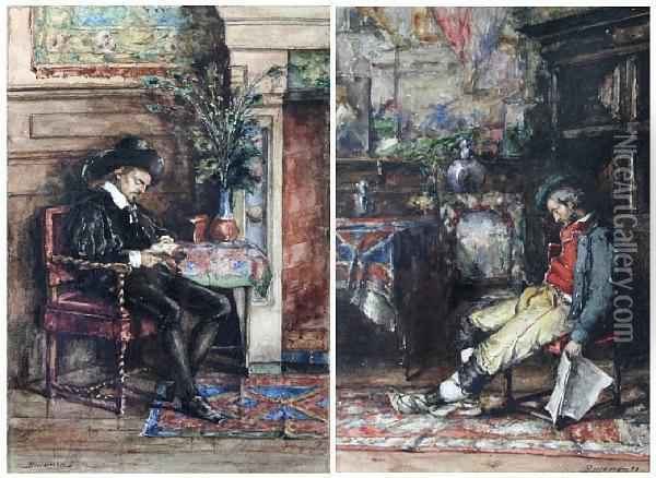 'a Venetian Earl', And 'the Sleeper Oil Painting - Fernand Beeckman