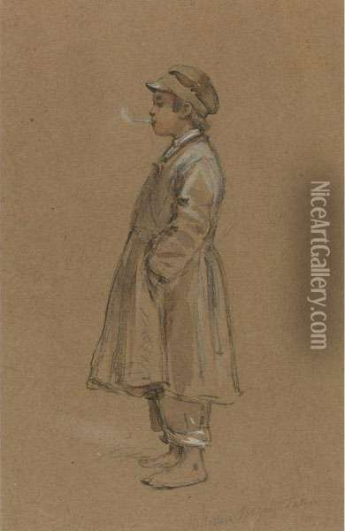 Street Urchin Smoking A Cigarette Oil Painting - Wilhelm Amandus Beer