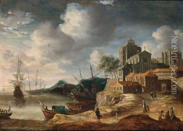 A Capriccio Coastal Landscape With Classical Buildings, With A State Yacht And Other Shipping, Figures On A Path Towards City Walls Oil Painting - Anthonie Beerstraten
