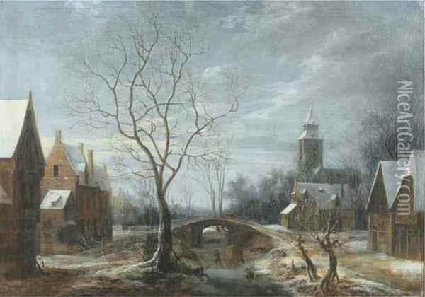 A Winter Landscape With Figures On A Frozen Waterway In Avillage Oil Painting - Anthonie Beerstraten