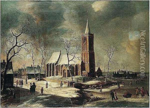 A Winter Landscape With Villagers Skating On A Frozen River Before A Church Oil Painting - Anthonie Beerstraten