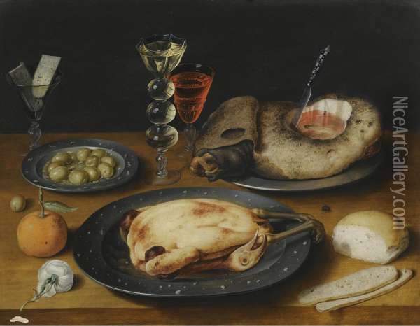 A Still Life Of A Roast Chicken, A Ham And Olives On Pewter Plates With A Bread Roll, An Orange, Wineglasses And A Rose On A Wooden Table Oil Painting - Osias, the Elder Beert