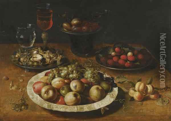 A Still Life Of Apples And Grapes In A Blue-and-white Porcelainbowl, Raspberries And Walnuts In Pewter Dishes, Plums On A Pewterdish Atop A Stand, Together With Three Wine-glasses And Sprigs Ofapricots And Gooseberries Upon A Wooden Table Oil Painting - Osias, the Elder Beert