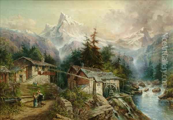 Alpine Landscape Oil Painting - Giovanni Bellini