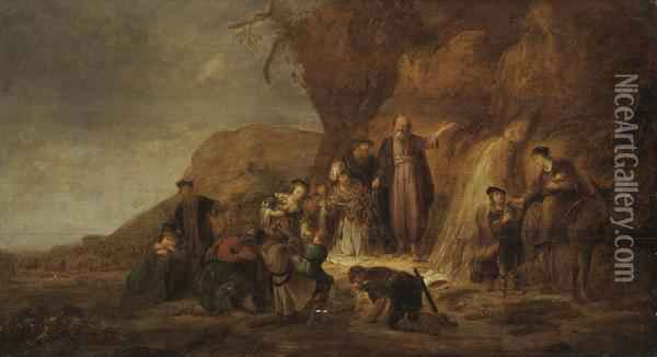 Moses Striking The Rock Oil Painting - Jacob Adriaensz. Bellevois