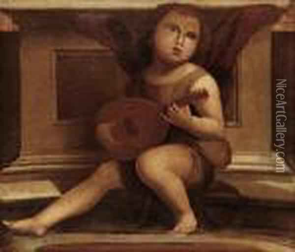 Putto Playing An Instrument Oil Painting - Giovanni Bellini