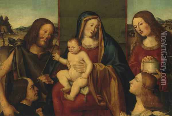 The Holy Family With Saints John The Baptist And Mary Magdalene Oil Painting - Giovanni Bellini