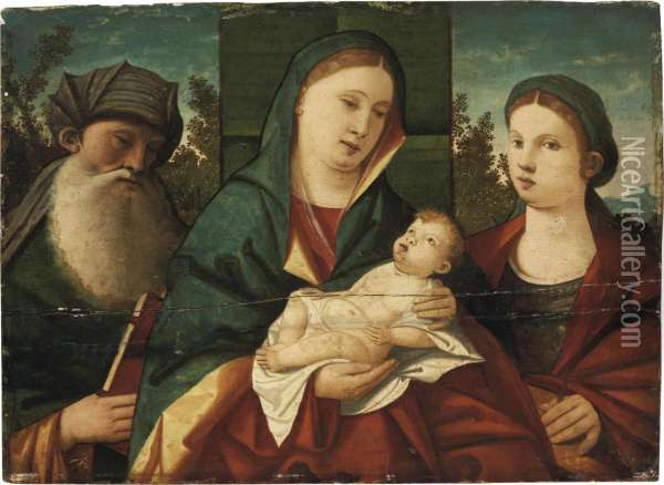 The Madonna And Child With Saint Anthony Abbot And Saint Catherine,in A Landscape Oil Painting - Giovanni Bellini