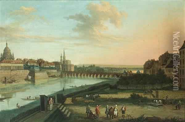 Dresden From The Right Bank Of The Elbe Belowthe Augustus Bridge Oil Painting - Bernardo Bellotto