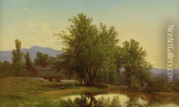 Landscape With Pond, Barn And Figures Oil Painting - Albert (Fitch) Bellows