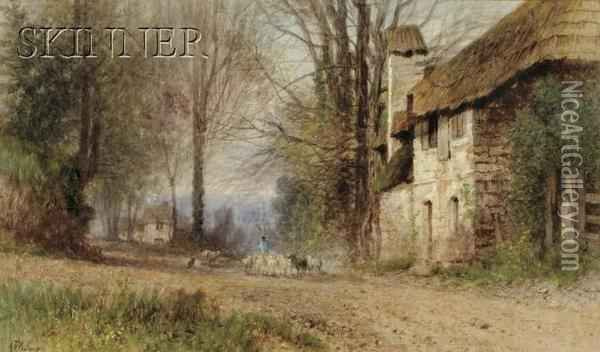 Pastoral View, Village Lane With Shepherd And Flock Oil Painting - Albert (Fitch) Bellows
