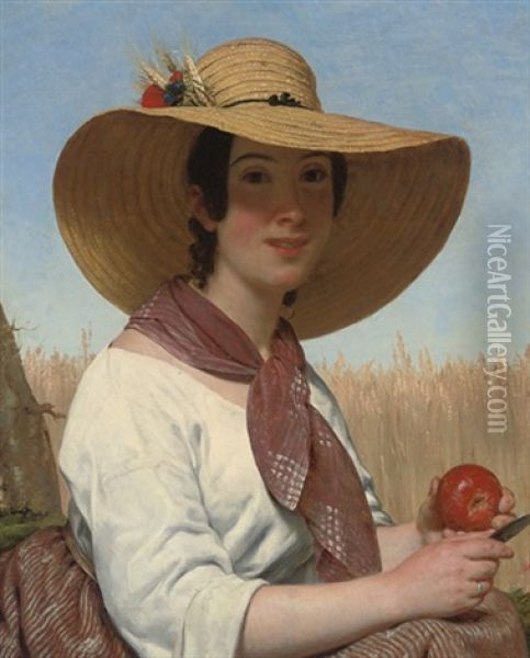 Girl In A Straw Hat Oil Painting - Alphonse Lavaudan