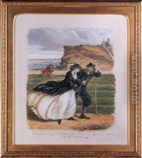 In The Witching Time Of Life - Some Like One Thing, And Some Like Another, For Example, Jack Likes A Blow On The North Cliff Oil Painting - John Leech