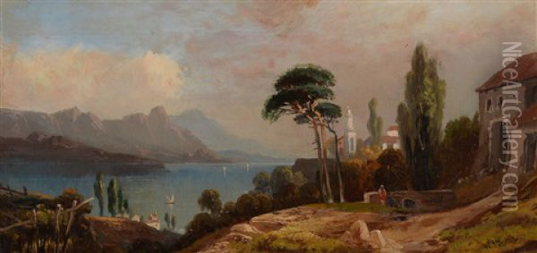 Italian Lake Landscape Oil Painting - William Leighton Leitch