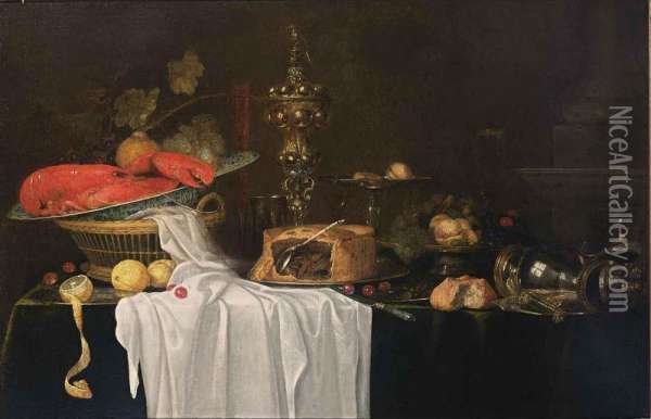 A Sumptuous Still Life With A Lobster In A Wan-li Kraak Porcelain Bowl In A Basket Together With Grapes, Cherries And Lemons, A Flute, A Silver Beaker, A Silver-gilt Cup With Cover, A Pie, A Silver Tazza With Peaches, Figs, Cherries And Hazelnuts On A Pla Oil Painting - Andries, Andrea Benedetti