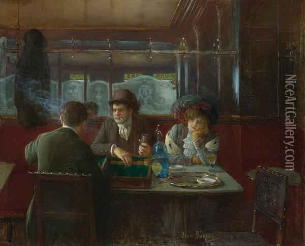 Backgammon At The Cafe Oil Painting - Jean-Georges Beraud