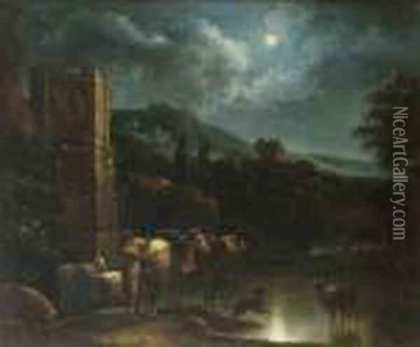 A Peasant With His Flock By A Ford By Moonlight Oil Painting - Nicolaes Berchem