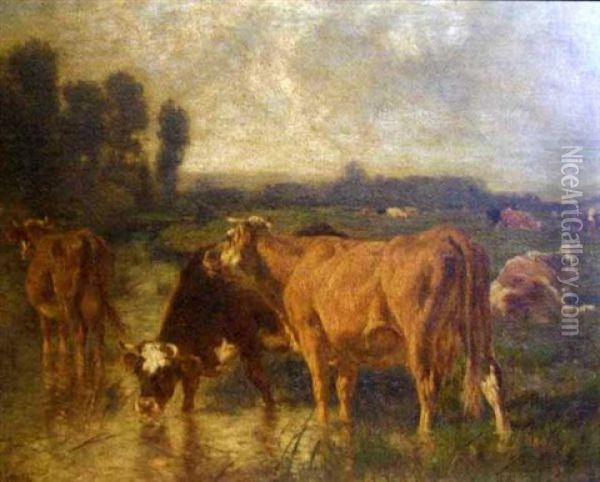 Cows At A Watering Spot, Others Lying In A Pasture In The Background Oil Painting - Emile van Marcke de Lummen