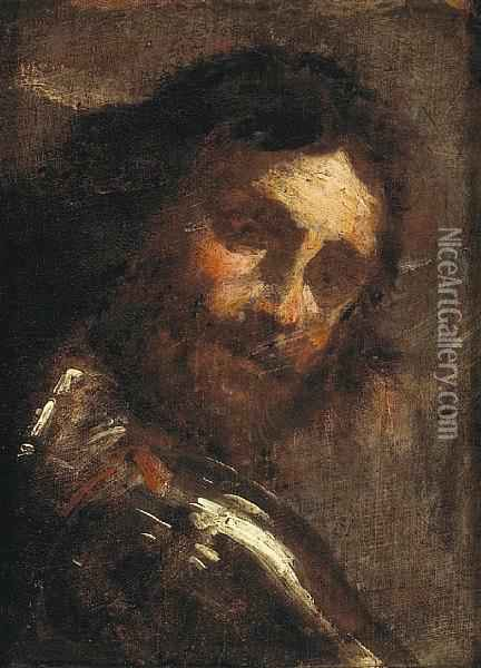 A Study Of A Man Looking Over His Shoulder Oil Painting - Gian Lorenzo Bernini