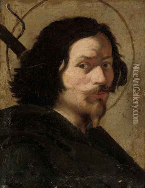 Portrait Of The Artist, Bust-length, As Saint James The Great Oil Painting - Gian Lorenzo Bernini