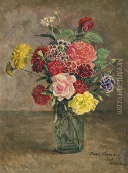 Still Life With Roses And Carnations In A Glass Jar Oil Painting - Ilya Ivanovich Mashkov
