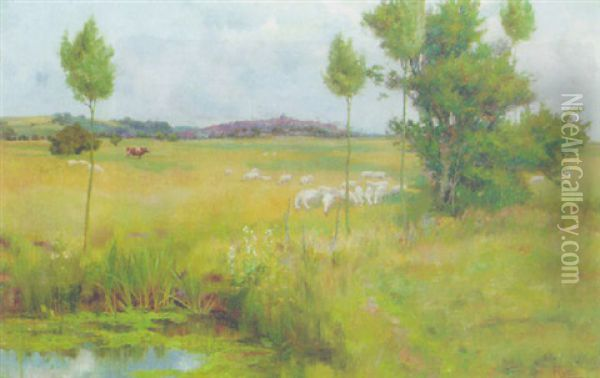 Sheep Grazing In A Tranquil Landscpe, Rye Oil Painting - William Frederick Mayor