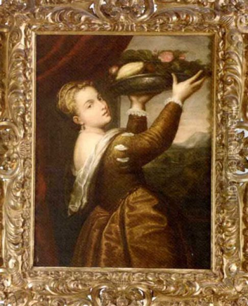 Lavinia And The Tray Of Fruit (after Titian) Oil Painting - Giuseppe Mazzolini