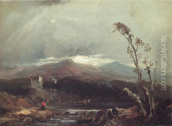 By The Loch Oil Painting - Horatio McCulloch