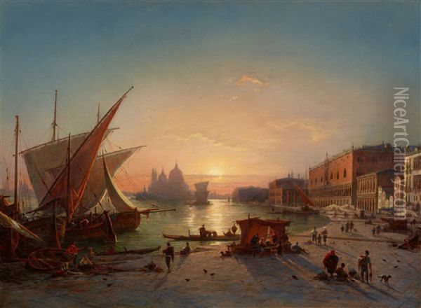 View Of Venice With Santa Maria Della Salute Oil Painting - Louis Mecklenburg