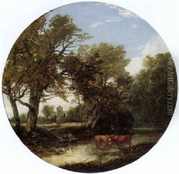 River Landscape With Cattle And A Girl Collecting Water Oil Painting - John Middleton