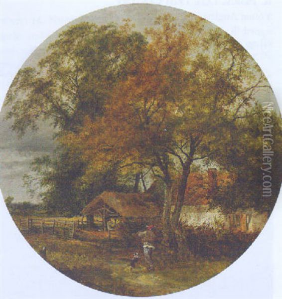 A Farmer With His Dog In A Wooded Landscape, A Sunlit Cottage Beyond Oil Painting - John Middleton