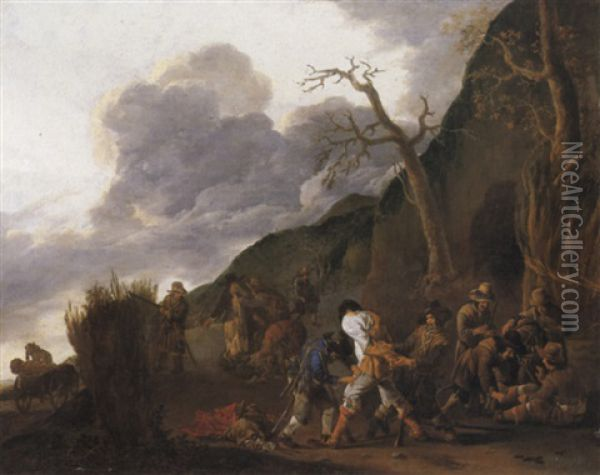 Banditti Robbing Travellers By A Roadside Oil Painting - Jan Miel