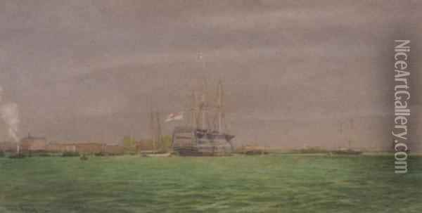 H.m.s Victory In Portsmouth Harbour Oil Painting - Irwin John David Bevan