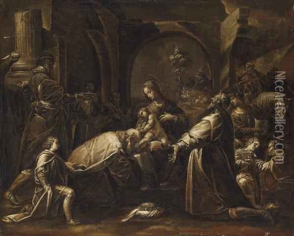 The Adoration Of The Magi, Grisaille Oil Painting - Isidoro Bianchi