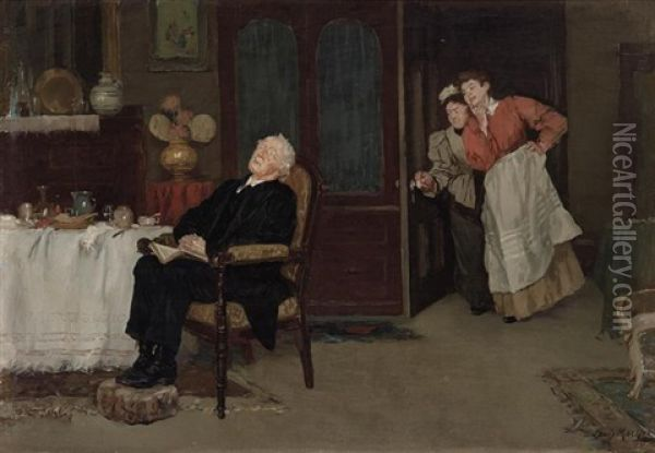Caught Napping Oil Painting - Louis Charles Moeller