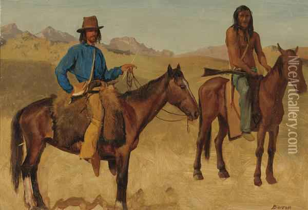 Trapper And Indian Guide On Horseback Oil Painting - Albert Bierstadt