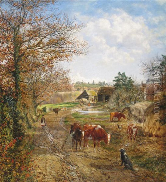 A Milkmaid And Cattle On A Track, A Farm Beyond Oil Painting - George William Mote