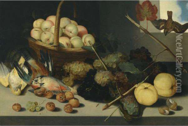 A Still Life With A Basket Oil Painting - Peter Paul Binoit