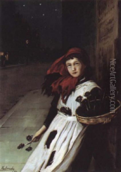 The Flower Girl Oil Painting - Augustus Edwin Mulready